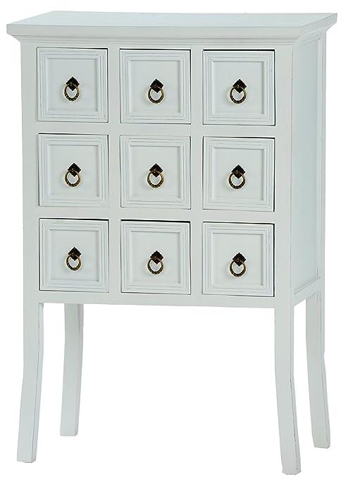 Incluye cómoda con nueve cajones de un armario de estilo shabby chic de registro de colour blanco, diseño de nueva