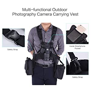 Newest Micnova MQ-MSP07 Pro Triple Camera Carrying Chest Harness System Vest with Side Holster for Canon Nikon Sony DV DSLR Cameras Panasonic Olympus Camcorder (Dust Blower Included) (Color: For Triple Cameras)