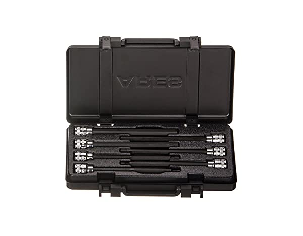 ARES 70224 - Extra Long Metric Hex Bit Socket Set - S2 Bit Provides Greater Torque - Premium Metal Storage Case - Heat Treated Chrome Vanadium Steel Sockets (Color: black,black, Tamaño: Extra Long Metric Hex Bit Socket Set)