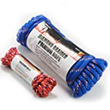 Wellmax Diamond Braid Nylon Rope, 1/2in X 50FT with Bonus 1/4in x 25FT Cord UV Resistant, High Strength and Weather Resistant (Tamaño: 50 FT)