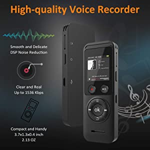 Digital Voice Recorder, BENGJIE 8GB Voice Activated Recorder with Playback Mini Sound Audio Recorder for Lectures/Meetings/Interviews,Dictaphone Auto Voice Recorder MP3 Player Support TF Card 64G (Color: Black)