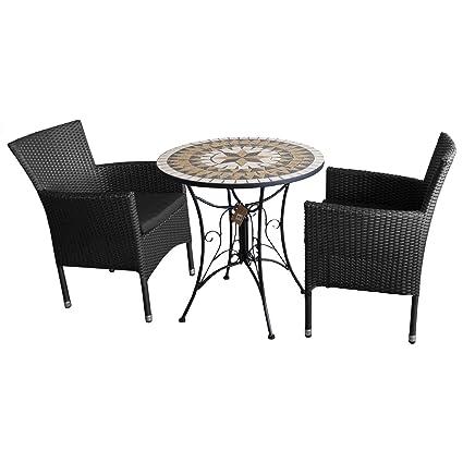 3tlg. Bistromöbel Balkonmöbel Gartenmöbel Set Sitzgruppe Gartengarnitur - Mosaik Gartentisch, Ø70cm + 2x Poly Rattan Stapelsessel, schwarz inkl. Sitzkissen