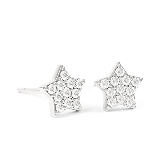 Diamond Mini Star 18ct White Gold Stud Earrings