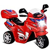 Costzon Ride On Motorcycle, 6V Battery Powered 3 Wheels Electric Bicycle, Ride On Vehicle with Music, Horn, Headlights for Kids (Red Motorcycle) (Color: Red Motorcycle, Tamaño: 32