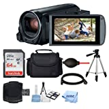 Canon VIXIA HF R800 Camcorder (Black) + SanDisk 64GB Memory Card + Digital Camera/Video Case + Quality Tripod + Card Reader + Tabletop Tripod/Handgrip + Deluxe Accessory Bundle