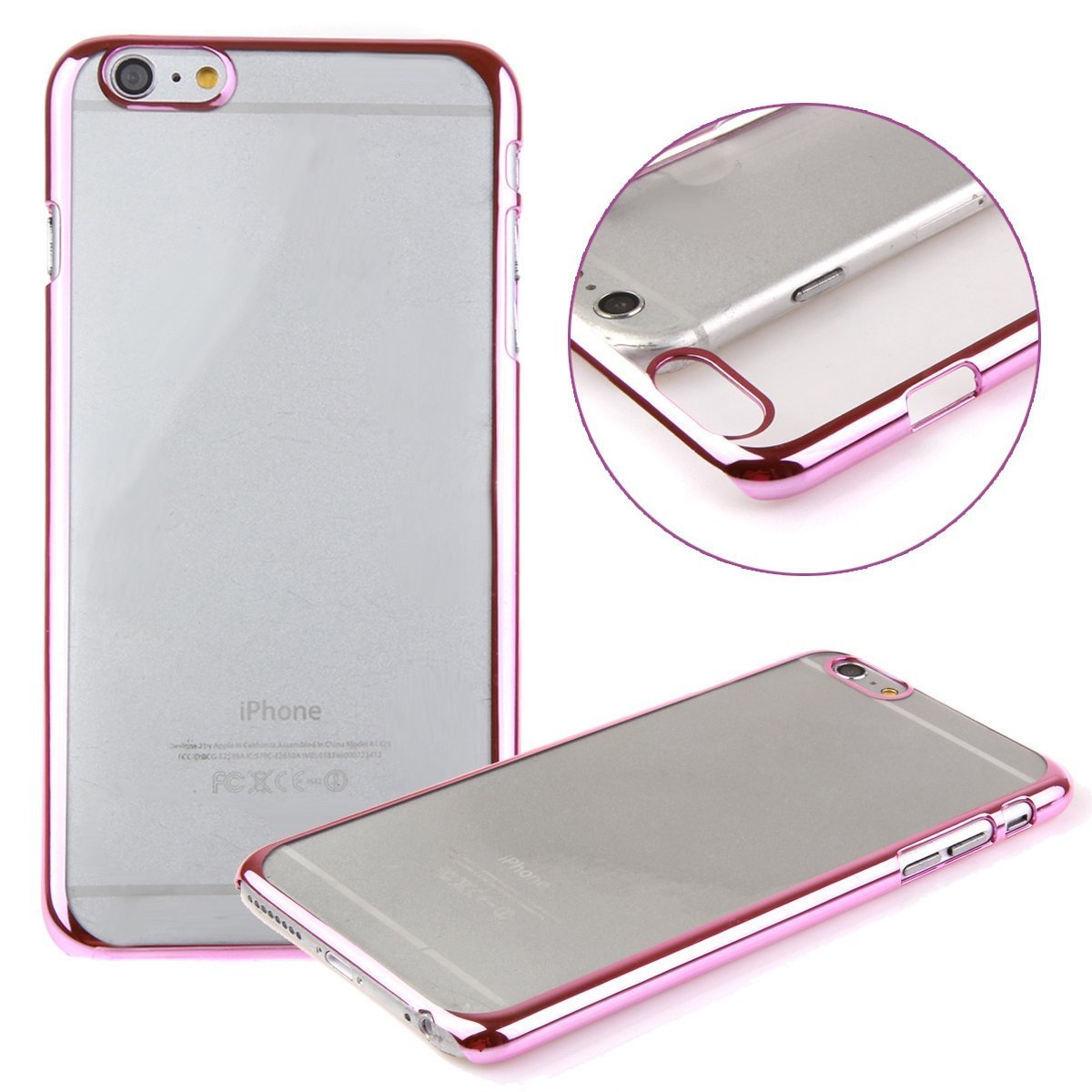"""""""iPhone 6 Case, LUOLNH(TM) Plastic Plated Transparent Slim Hard Case Cover with Design for Iphone 6 4.7 Inch(Clear:Hot Pink )"""""""
