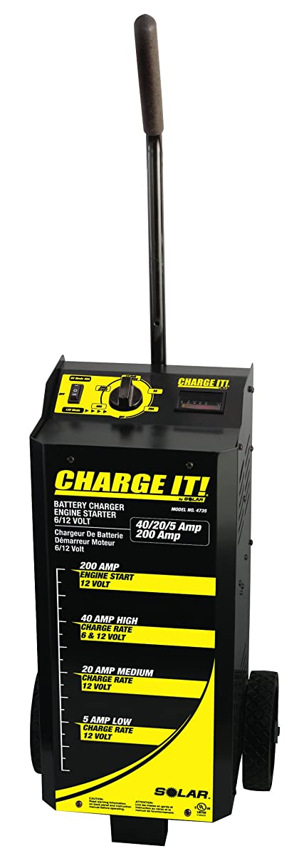 Clore Automotive 4735 Wheeled Battery Charger (40/20/5/200 Amp, 6/12 Volt)
