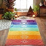 Hatop Rainbow Chakra Tapestry Towel Yoga Mat Sunscreen Shawl Tapestry Hippy Boho Gypsy (D) (Color: D)