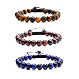 JOVIVI 8MM Birthstone Gemstones Healing Power Crystal Macrame Adjustable Beaded Bracelet, Unisex (3pcs Tiger Eye with Black Rope) (Color: 3pcs Tiger Eye with Black Rope)