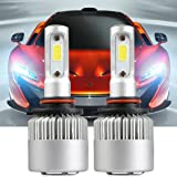 9005 LED Headlight Bulbs, LinkStyle 2PCS LED Headlights 9005 HB3 Waterproof 36W 6500K 8000Lumens Super Bright Cool White COB Chips Fog Light Cree Bulb High Low Beam All-in-One Conversion Kit (Color: 9005/HB3)