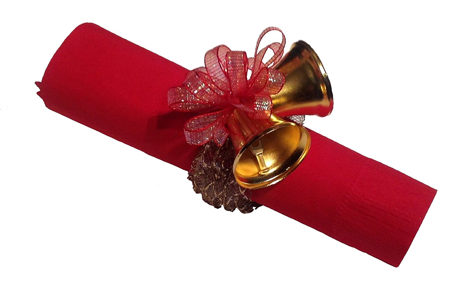 Фото 8 Napkin Rings Gold Metal Clinking Bells with Red Ribbon and Bow
