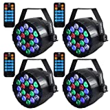 Stage Lights,SAHAUHY RGBW 18 Leds Par Lights Sound Activated DMX Color Mixing Dj Lights Party Lights with Remote (Color: black, Tamaño: Small)