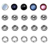 50 Sets Snap Fastener Kit, 16L/10mm Classic Pearl Prong Ring Snaps for Western Shirt Clothes Popper Studs with Clear Storage Box (5 Color x 10 Sets)