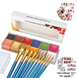 CCbeauty Professional Face Paint Oil Body Painting Art Party Fancy Make Up + Brushes Set+ 8 Sheet Halloween Nail Stickers (Color: Face Paint Set)