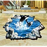 LiveGallery Cute Cartoon 3D Dolphin Jump Ocean Pattern Lovely Wall Decals Removable Waterproof Animals Home art Decor Wall Stickers Murals for Kids Babys Rooms Bedroom Ceiling Bathroom Floor (Color: multicolor)