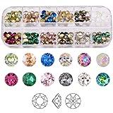 180pcs 3D Nail Art Crystals Pointed Back Round Rhinestones SS29/6MM 12 Colors Gem Stones Mix Set