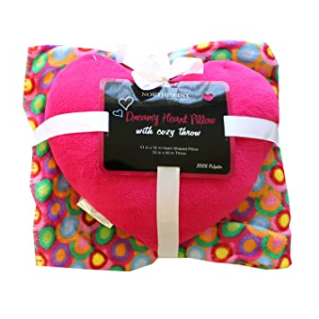 2pc Hot Pink Multicolored Circles Throw Blanket with Heart Shaped Pillow Set