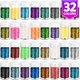 Fine Slime Glitter, Set of 32 Colors, LEOBRO Multi Purpose Glitter Powder for Arts, Crafts, Epoxy Tumblers, Decoration Weddings Cards Flowers, Scrapbooking, Body, Face, Nail, Glitter Slime Making (Tamaño: 32 Colors)