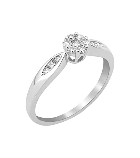 Miore Solitaire Ring White Gold 9-Carat, Diamond 0.25 Carats