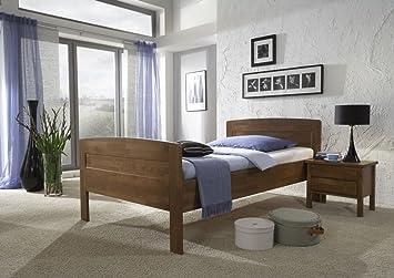 Dreams4Home Komfortbett 'Florenz', Massiv, Bett, Komfort, Seniorenbett, walnuss, 90, 100, 120x200cm, Liegefläche:120x200 cm;Nachtkonsole:ohne Nachtkonsolen