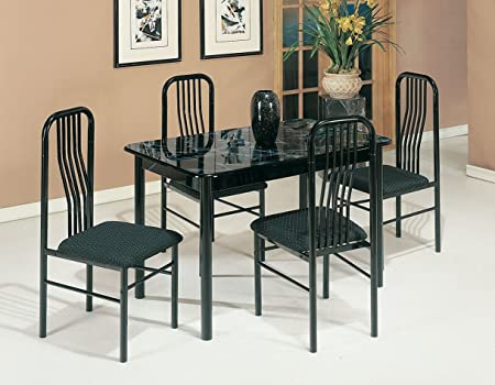 Acme 02406/7BK 5-Piece Hudson Faux Marble Top Dining Set, Black