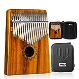 GECKO Kalimba 17 Keys Acacia(KOA) Thumb Piano and EVA High Performance Protection Box, Tuning Hammer, Professional models. (Color: Solid Koa wood)