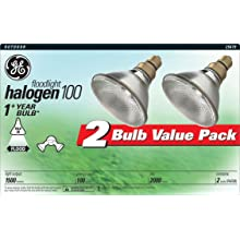 GE 25679 100-Watt Halogen Flood PAR38 Light Bulb, 2-Pack