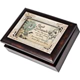 Cottage Garden Good Friends Burlwood With Silver Inlay Italian Style Music Box/Jewelry Box Plays Thats What Friends Are For (Color: Brown, Tamaño: 8.5x6.5x3)