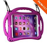 [New Design]TopEs iPad Mini Case Kids Shockproof Handle Stand Cover&(Tempered Glass Screen Protector) for iPad Mini, Mini 2, Mini 3 and iPad Mini Retina Models (Purple) (Color: Purple)