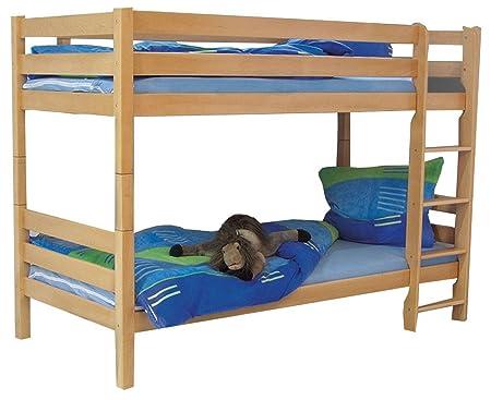 Stockbett bruno lit à étage en hêtre massif 90 x 200 cm-couleur :  bois de hêtre laqué naturel