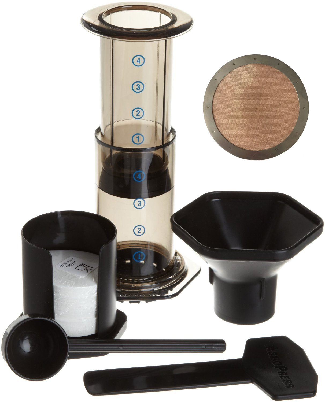 Aeropress Coffee Maker And Extras (350 Filters & 1 Reusable Brass Mesh Filter)