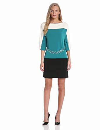 Sandra Darren Women's Dolman Sleeve Colorblock Dress with Belt, Cream/Teal/Black, 6
