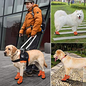 petacc Dog Boots Waterproof Dog claw shape Dog Shoes Pet Rain Boots Outdoor Shoes with Rugged Anti-Slip Sole 4Pcs