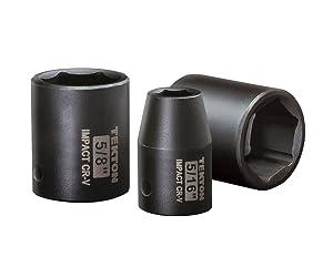 TEKTON 3/8-Inch Drive Shallow Impact Socket Set, Inch, Cr-V, 6-Point, 5/16-Inch - 3/4-Inch, 8-Sockets   4790