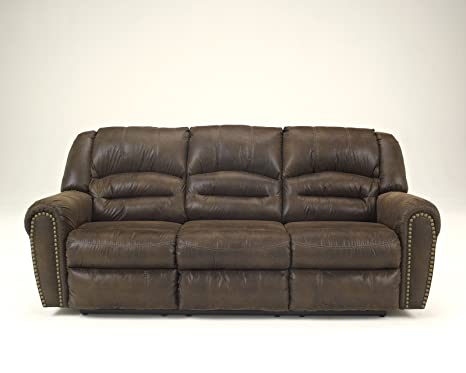 Ashley McNeil Leather Power Reclining Sofa in Java