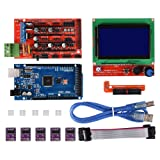 Witbot RAMPS 1.4 Controller with Mega2560 R3 with LCD 12864 Smart Display Controller Module 5pcs DRV8825 Stepper Motor Driver Module for 3D RepRap Printer