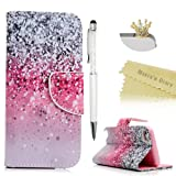 Mavis's Diary iPod Touch 6 Case, Touch 5 Wallet Case, Premium PU Leather Wallet Case with Magnetic Clasp Card Holders Flip Cover for Apple iPod Touch 5th & 6th - Pink & Black Gradient (Color: Pink and Black Gradient)