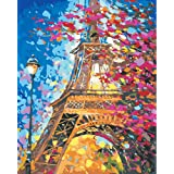 DIY Painting by Numbers for Adults, Paint by Number Kit On Canvas for Beginners, New Painters, Gift Package from SEASON (Eiffel Tower) (Color: Eiffel Tower)