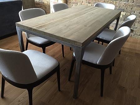 Tavolo da pranzo industriale contemporaneo, Victoria (Sand colour)-Silver (mild steel), 8 seater W180xD80xH75cm