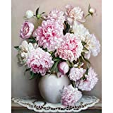 HuntGold Painted By Numbers Kit DIY Peony Flower Frameless Hand Oil Paintings On Canvas Wall Decor 22x18 Inch.