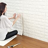 20 Pcs 3D Brick Wall Stickers, White Brick Wallpaper, Waterproof Self Adhesive Wall Stickers Wallpaper for Bedroom Living Room Background TV Decor 6060cm by YTAT (Color: White)