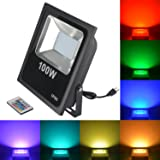 RSN LED Flood Light 100W 5050 RGB Multi Color Changing IP65 Waterproof with US-Plug for Garden Home Yard Hotel Pathways (100W RGB) (Color: 100w Rgb)
