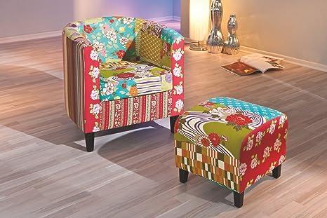 Sessel mit Hocker bunt/ schwarz