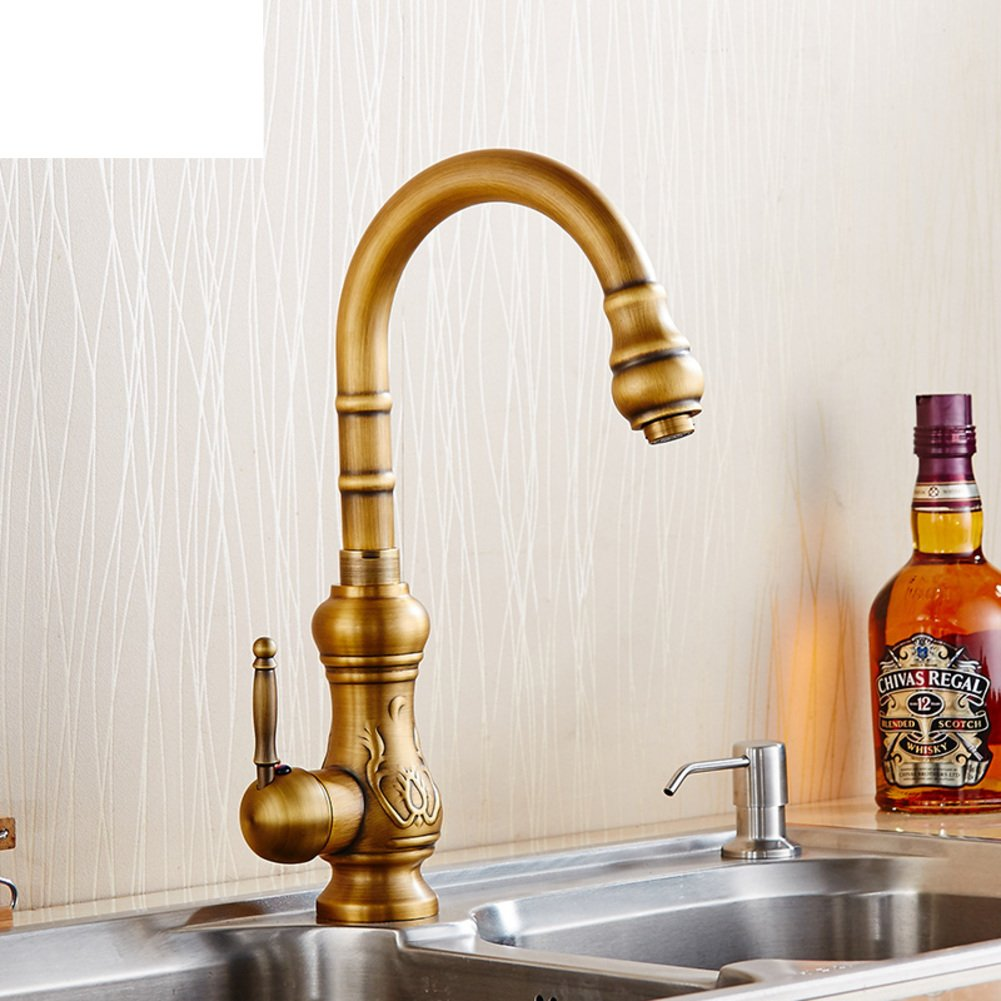 European-style retro kitchen faucet/Hot and cold water full of antique copper kitchen sink dual slot vegetables basin faucet 0