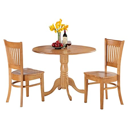 East West Furniture DLVA3-OAK-W 3-Piece Kitchen Nook Dining Table Set, Oak Finish