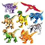 Liberty Imports Dino World Dinosaur Building Blocks Miniature Action Figures Jurassic Toys - Kids Bulk Party Favors Gift Pack (Set of 16) (Color: Multicolored)