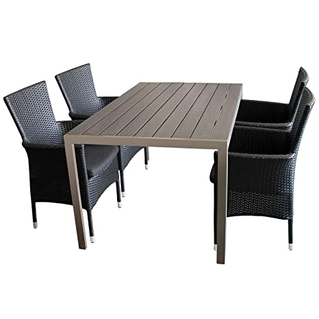 5tlg. Sitzgarnitur Gartenmöbel Set Aluminium Polywood/Non Wood Tisch Champagner 150x90cm + 4x Poly-Rattan Sessel stapelbar Polyrattan Gartensessel inkl. Sitzkissen Stapelstuhl Gartengarnitur SitzgruppeTerrassenmöbel