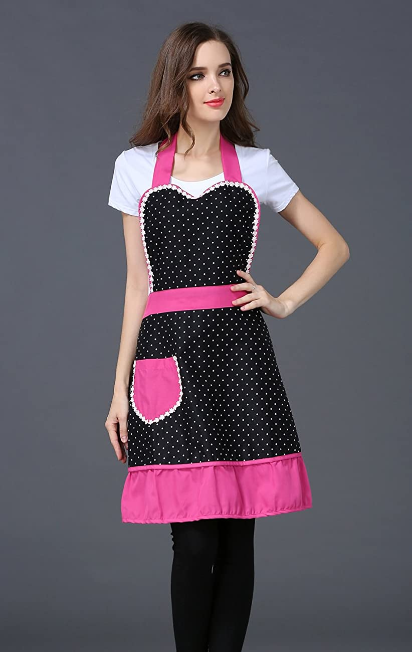 Cute Lovely Black Lace Aprons with Pocket for Women Girls Vintage Aprons Kitchen Cooking Apron 3