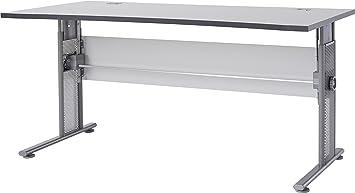 Germania 0650-69 höhenverstellbarer Schreibtisch GW-Profi in der Farbe Lichtgrau, 160 x 70-80 x 80 cm (BxHxT)