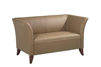 OSP Furniture Open Wing Taupe Leather Lounge Love Seat with Cherry Finish Legs